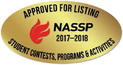 The National Association of Secondary School Principals has placed this program on the 2017-18 NASSP List of Approved Contests, Programs, and Activities for Students.